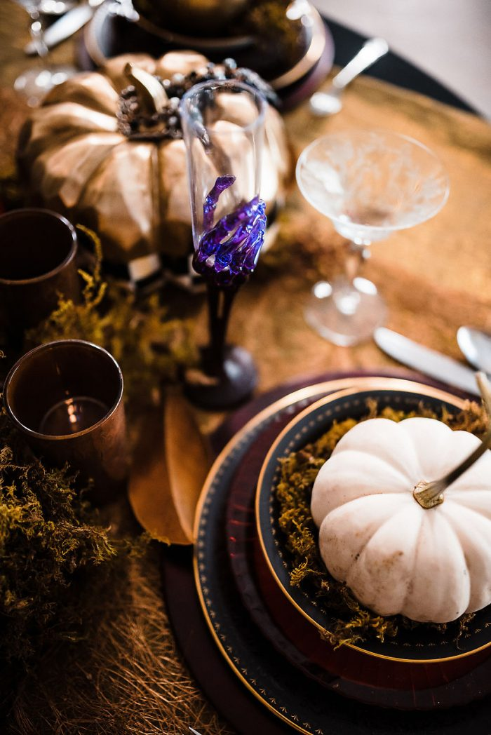Pumpkin Decorations on Table for Halloween Wedding Ideas