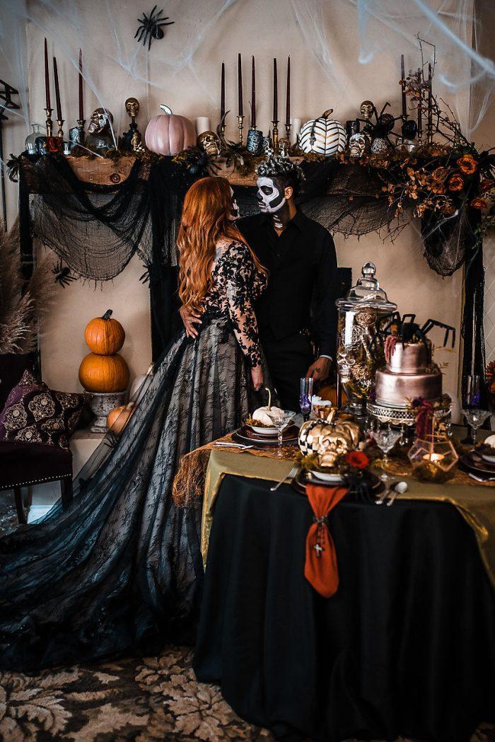Bride and Groom with Halloween Wedding Decor Ideas