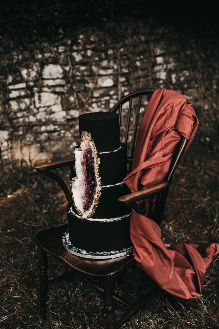 Black and Purple Geode Wedding Cake