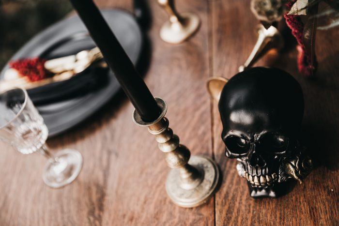Halloween themed wedding decor and table settings