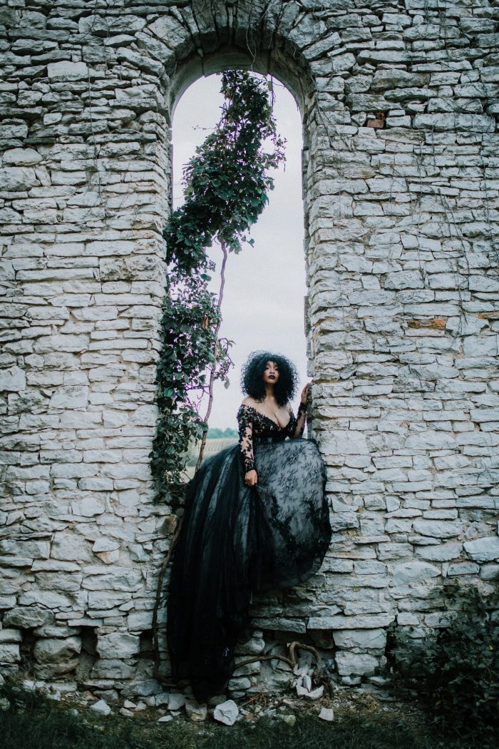 Black Bride Wearing Gothic Ball Gown Wedding Dress Called Zander by Sottero and Midgley