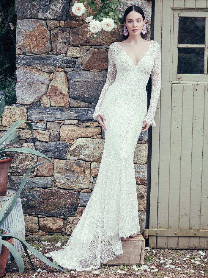 Bride Wearing Vintage Lace Long Sleeve Wedding Dress Called Antonia by Maggie Sottero