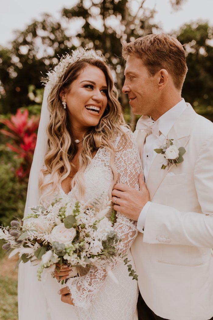 Real Bride Wearing Boho Sheath Wedding Dress