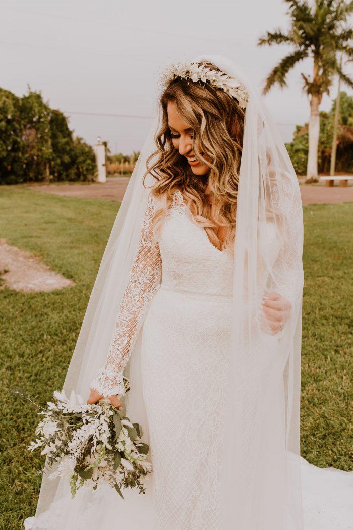 Real Bride Wearing Boho Sleeved Sheath Wedding Dress Called Antonia by Maggie Sottero