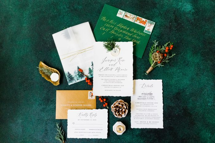 Emerald Green Wedding Invitations with Holly for Winter Wedding Palette