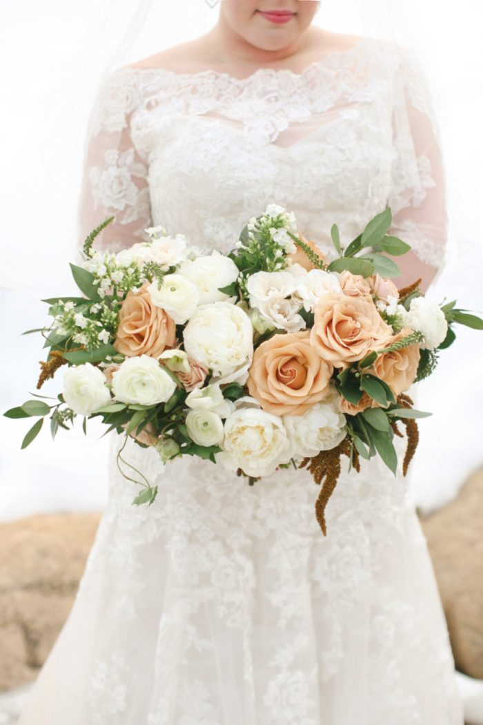 Bride in the Winter Holding a Toffee Rose Bouquet