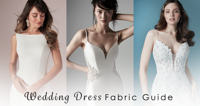 Wedding Dress Fabric Guide Collage with Text Overlay