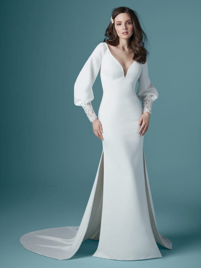 Model Wearing Bishop Sleeve Crepe Wedding Gown Called Aberdeen by Maggie Sottero