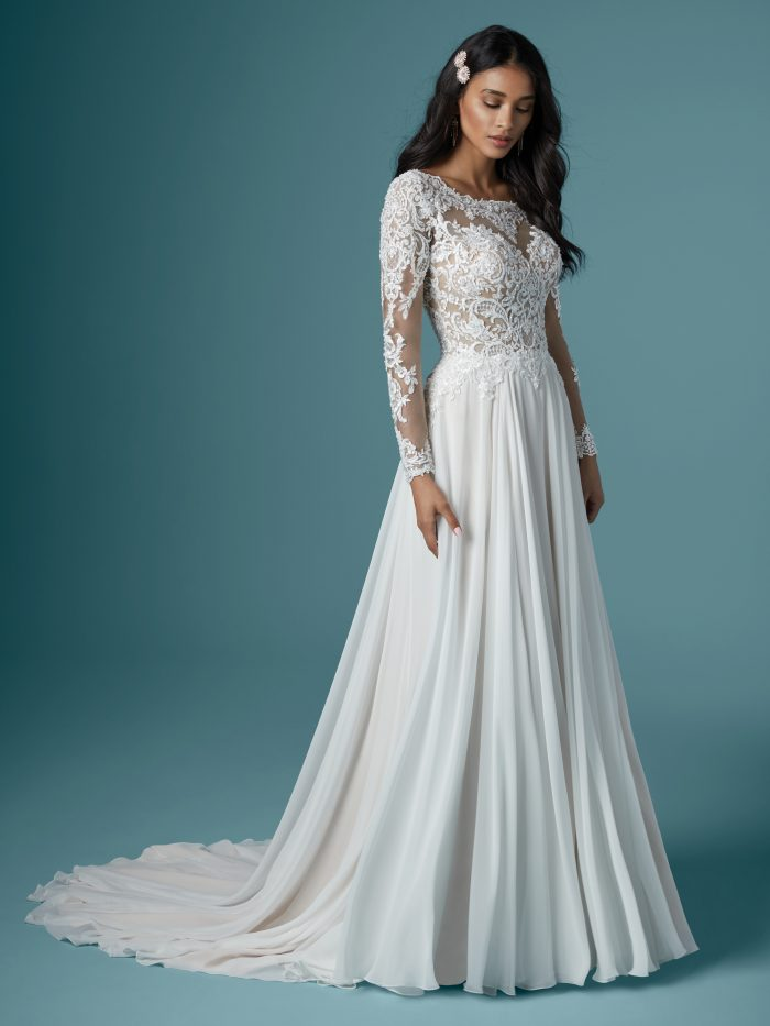 Bride Wearing Long Sleeve Vintage Chiffon Wedding Dress Called Madilyn by Maggie Sottero