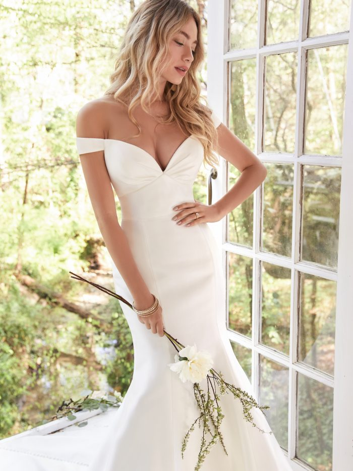 Cindy Satin simple wedding dress by Rebecca Ingram