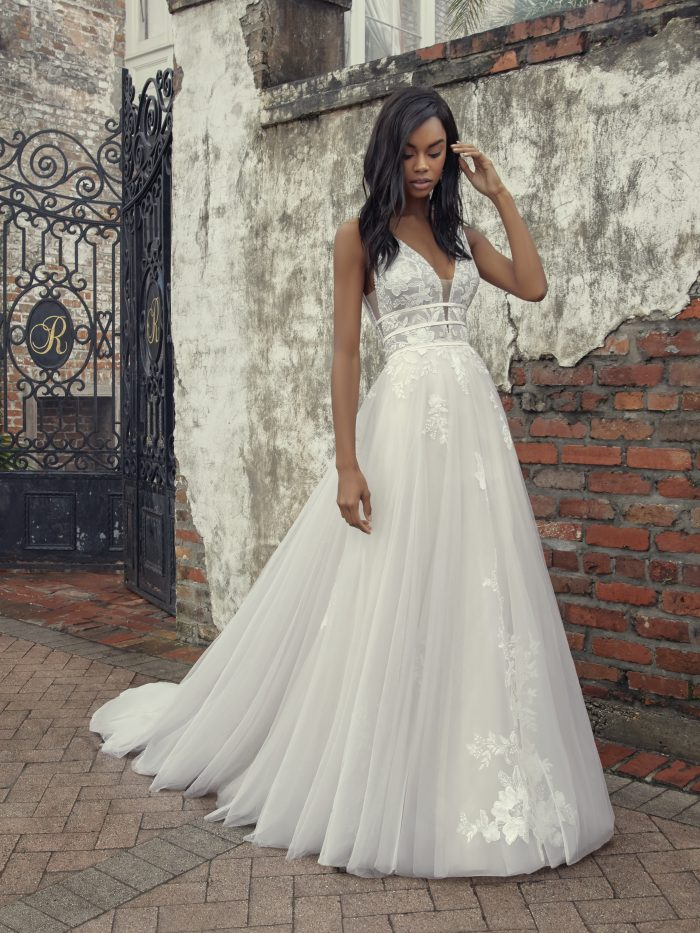 Bride Wearing A-line Tulle Wedding Gown by Maggie Sottero