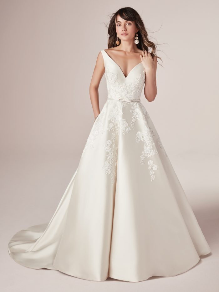 Model Wearing Lace Satin A-line Wedding Gown Called Valerie by Rebecca Ingram