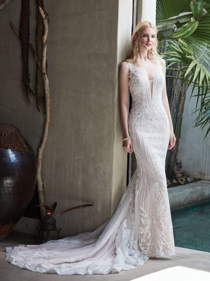 Model Wearing Lace Sheath V-neck Wedding Dress Called Delaney by Sottero and Midgley