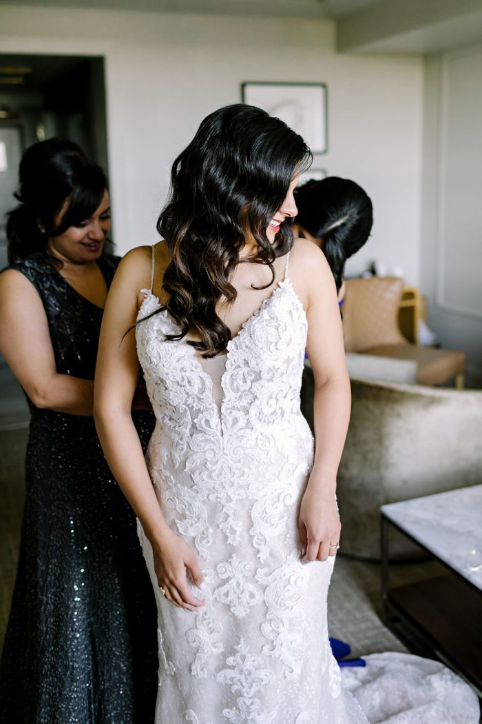 Real Bride Wearing Lace Sheath Wedding Gown Called Tuscany Lynette by Maggie Sottero
