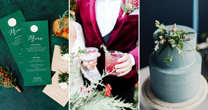 Collage of Wedding Invited a Red Suit and Christmas Wedding Cake for Winter Wedding Palette