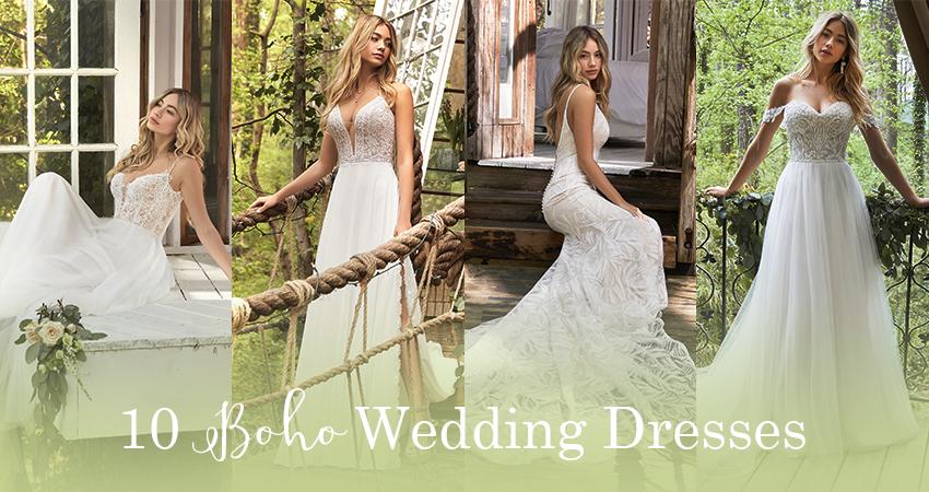 A Collage of Boho Wedding Dresses by Rebecca Ingram