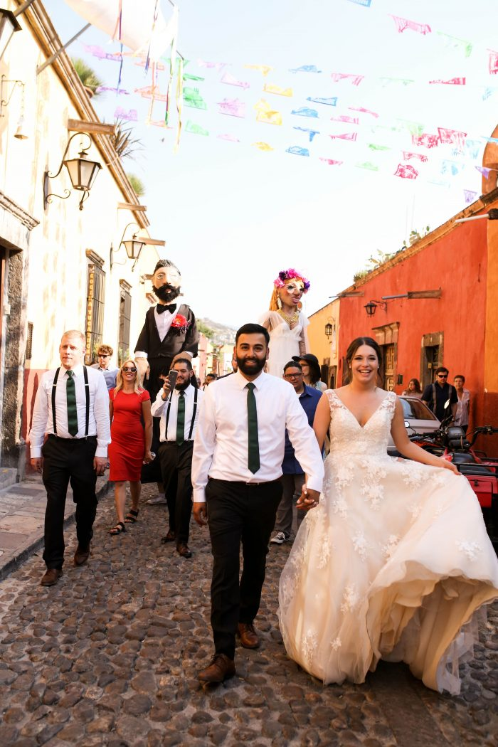 Real Bride and Groom at Traditional Callejoneada