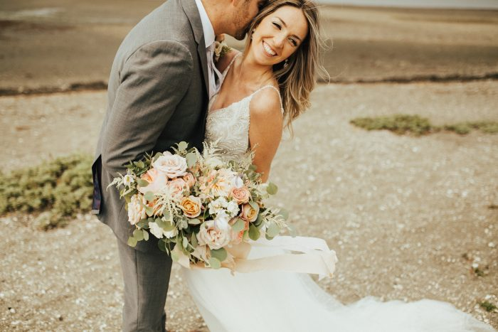 Groom with Real Bride Wearing Boho Wedding Gown Called Charlene by Maggie Sottero