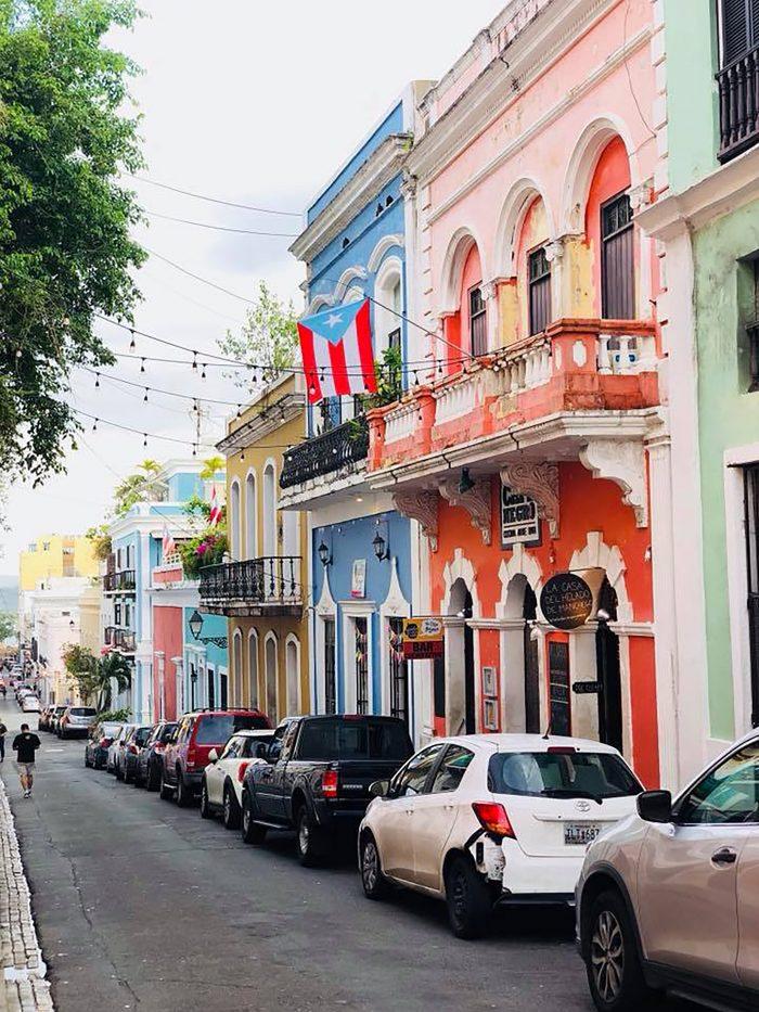 Affordable Honeymoon Destination of Colorful Buildings on Street in San Juan Puerto Rico