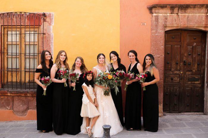 Real Maggie Bride with Bridesmaids at Destination Wedding