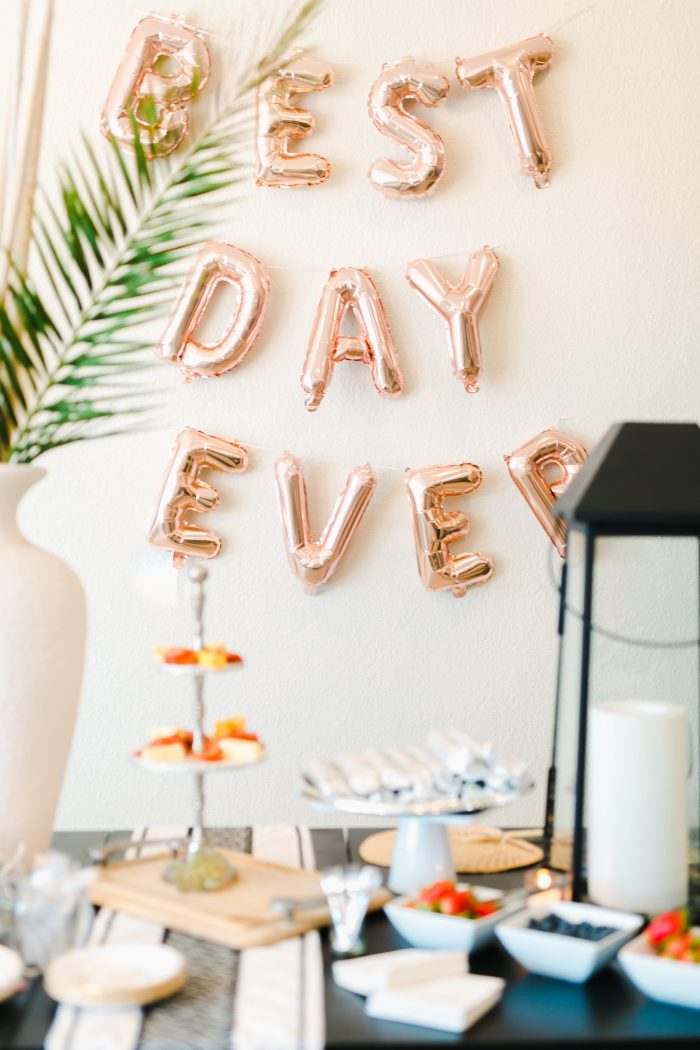 Sign of Balloons that Says Best Day Ever over Table with Desserts at Real Wedding