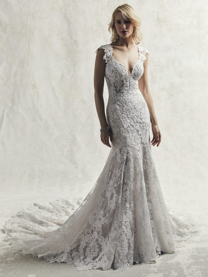 Model Wearing Sexy Lace Mermaid Quick Delivery Wedding Gown Called Chauncey by Sottero and Midgley