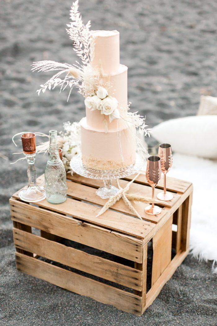 Orange Beach Wedding Cake on Wooden Box