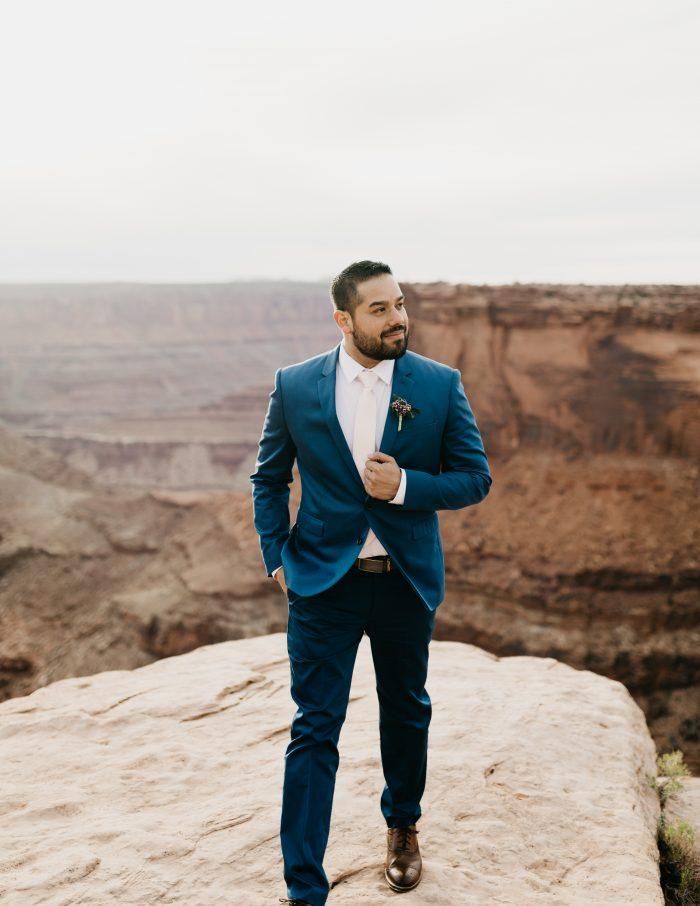 Real Groom Wearing Navy Blue Suit Groom Wedding Attire