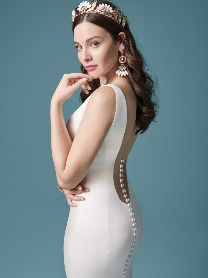 Model Wearing Low Back Wedding Dress Called Anissa by Maggie Sottero