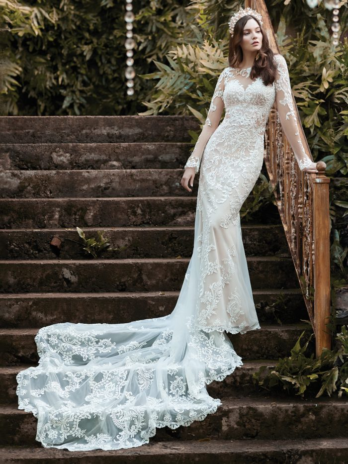 Model Wearing Illusion Lace Long Train Wedding Gown Called Lydia Anne by Maggie Sottero