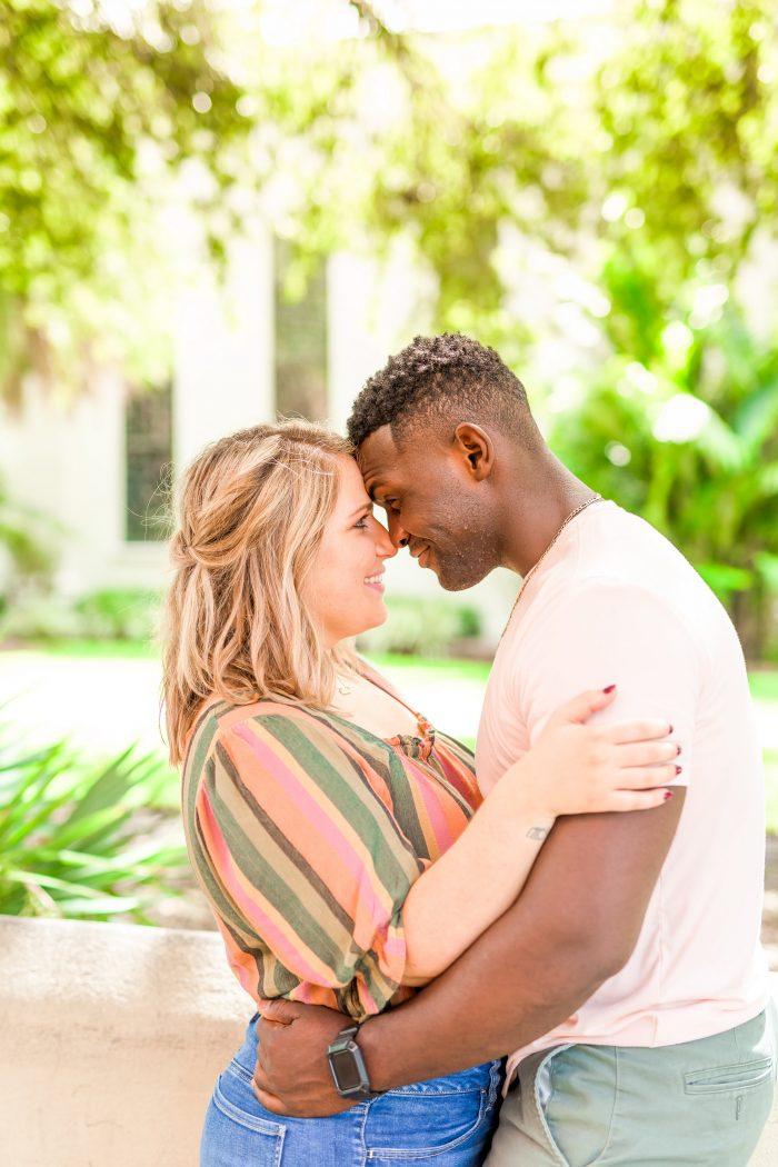 Engaged Couple Hugging During Photoshoot