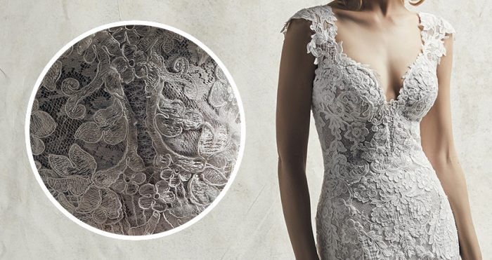 Chauncey Lace Wedding Dress by Sottero and Midgley Close Up detail shot of the Lace