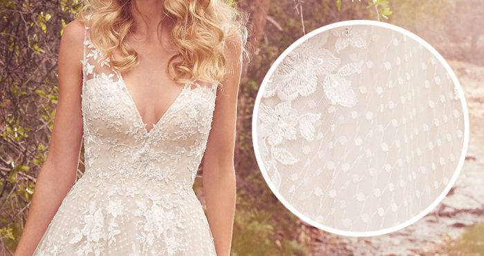 Meryl Lace Wedding Dress by Maggie Sottero close up of Point D'esprit Lace