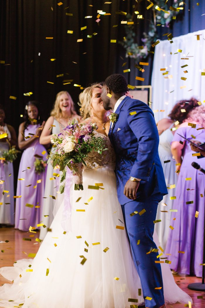 Real Bride and Groom Kissing at Wedding Ceremony in Florida