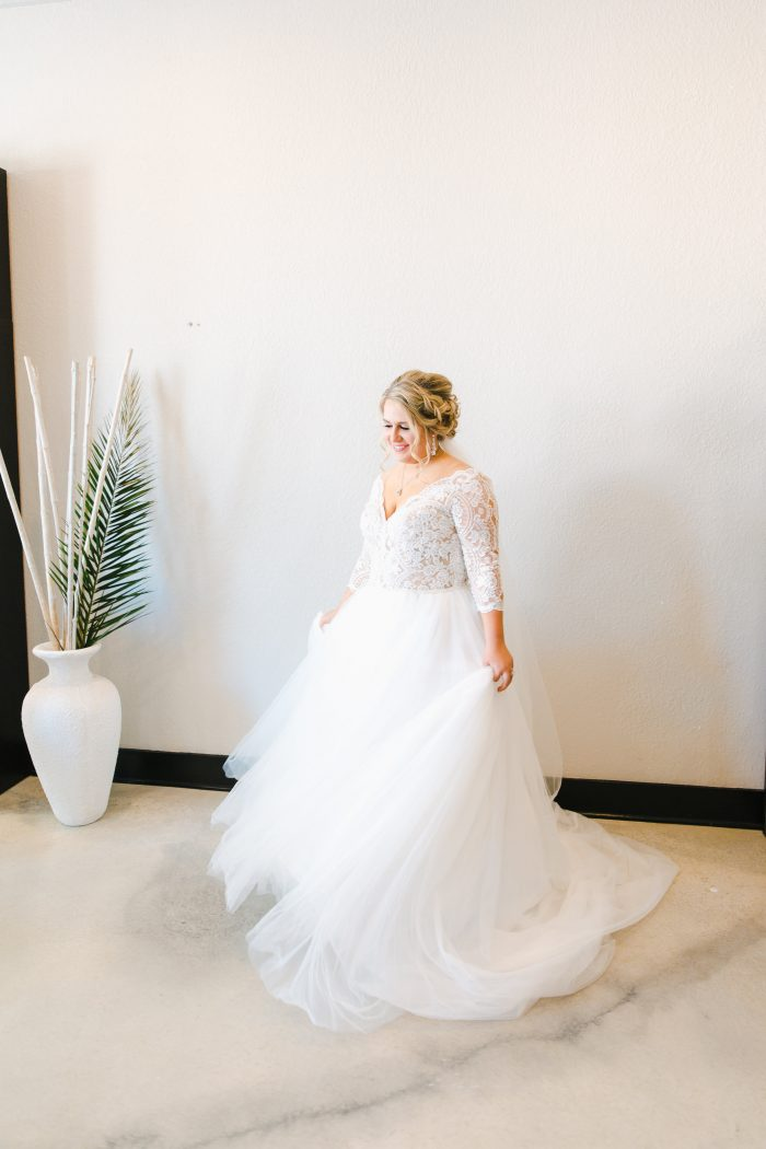 Real Curvy Bride Wearing Lace Ball Gown Wedding Dress Called Mallory Dawn by Maggie Sottero