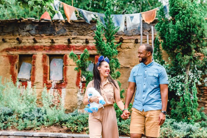 African American Couple Walking in Walt Disney World's Animal Kingdom