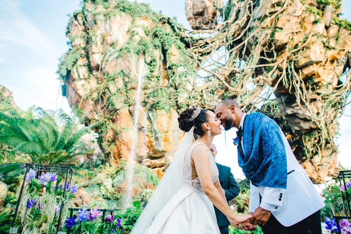 Groom Kissing Real Bride at Fairytale Wedding Ceremony in Disney's Pandora the World of Avatar