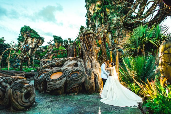 Groom with Real Bride Wearing Princess Wedding Dress Called Mylene by Maggie Sottero
