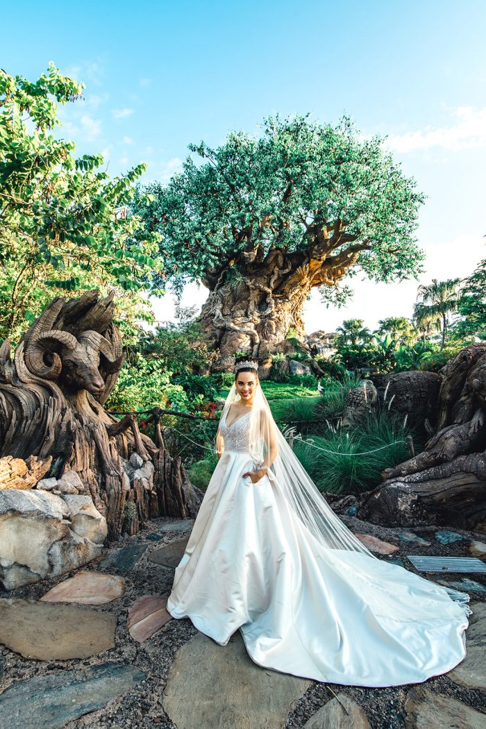 Real Bride in Disney World Wearing Princess Wedding Dress with Pockets by Maggie Sottero