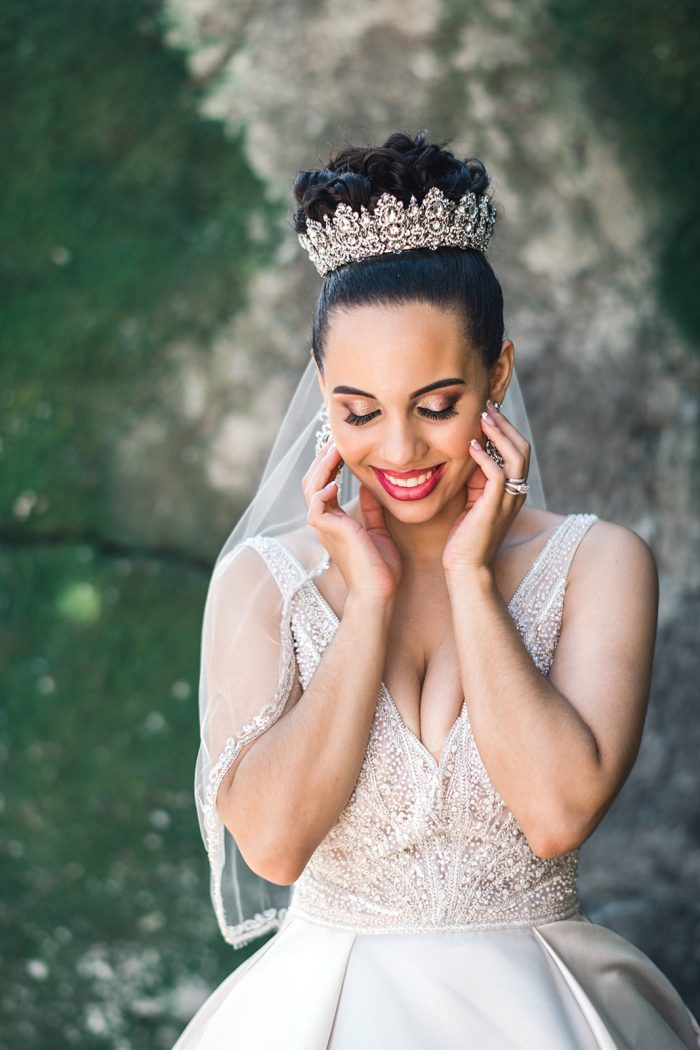 Real Bride Wearing Diamond Crown with Wedding Updo and Satin Ball Gown Wedding Dress Called Mylene by Maggie Sottero