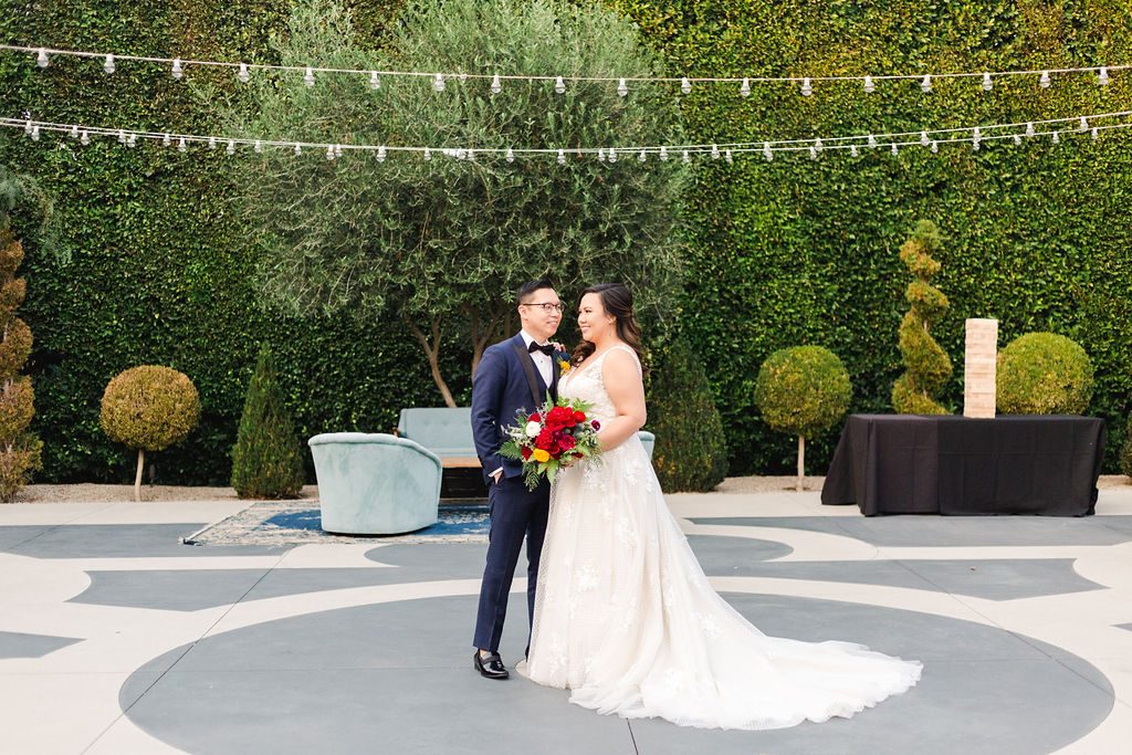 Groom With Bride Through Backyard Wedding Before Guests Arrive
