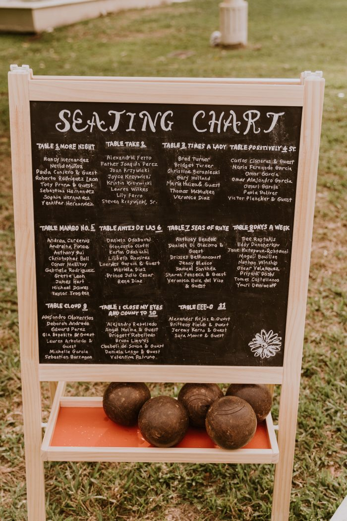 Chalk Board with Seating Chart for Backyard Wedding is Written