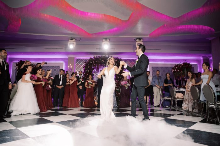 Real Bride and Groom Dancing Together During Luxurious Armenian Wedding Reception