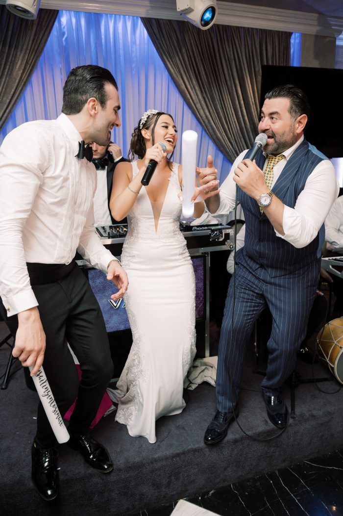 Bride and Groom Singing with Famous Armenian Singer at Armenian Wedding Reception