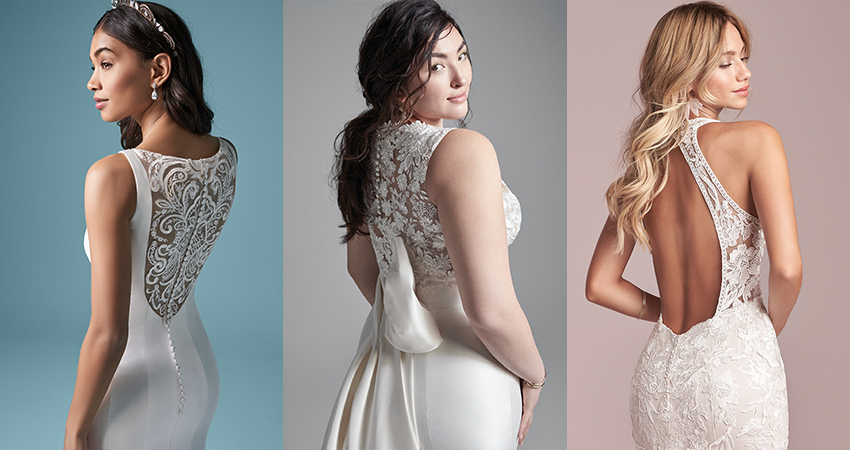 Collage of Dramatic Back Wedding Dresses by Maggie Sottero