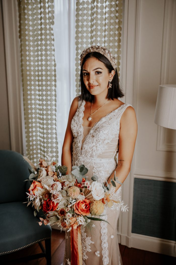 Real Bride Wearing Bridal Crown and Boho Wedding Dress Called Agata Louise by Sottero and Midgley
