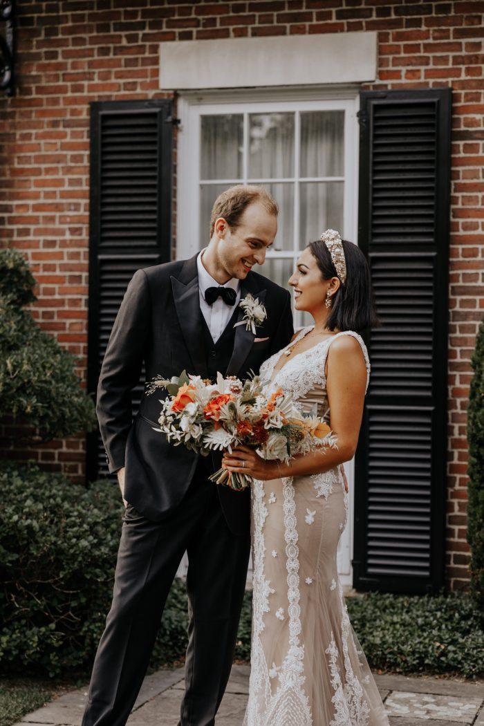 Groom with Real Bride Taking Wedding Portraits at Backyard Elopement During Coronavirus