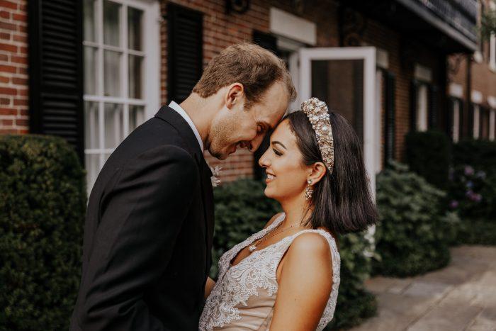 Bride and Groom Taking Wedding Portraits on Wedding Day