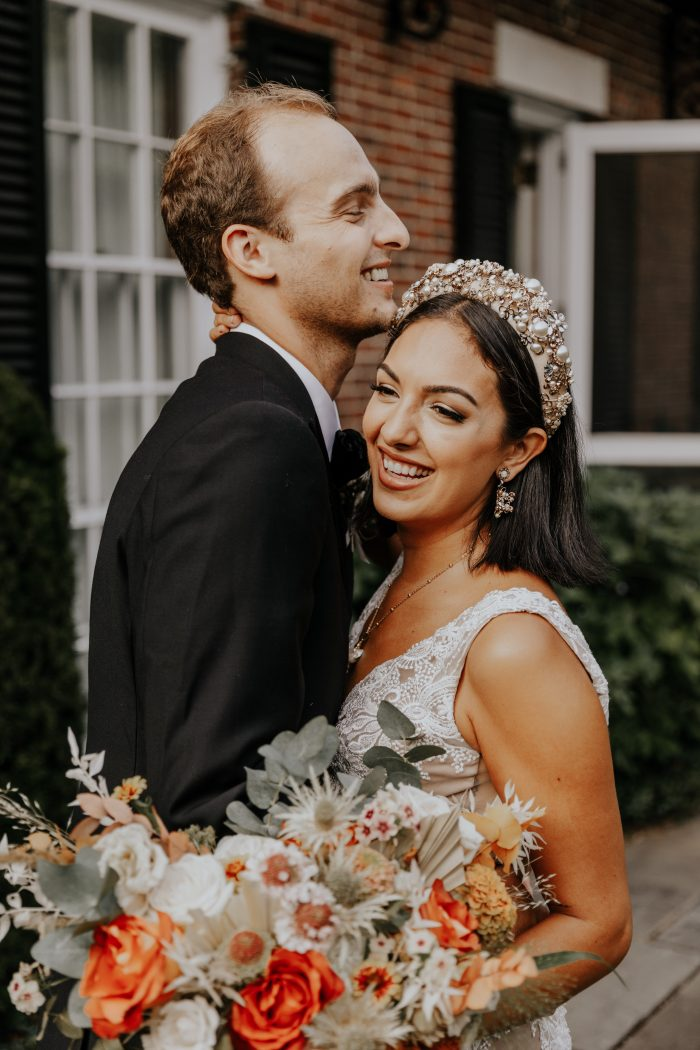 Groom with Real Bride Wearing Bridal Crown and Boho Sheath Wedding Dress Called Agata Louise by Sottero and Midgley