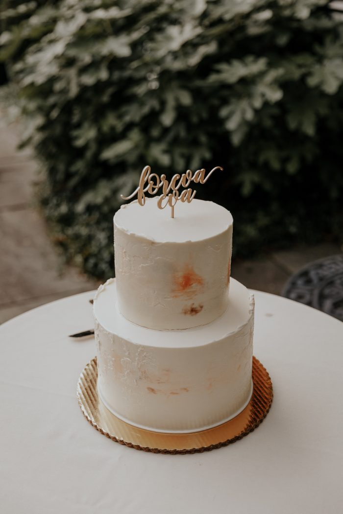 Strawberry Shortcake Wedding Cake with Two Tiers and White Frosting